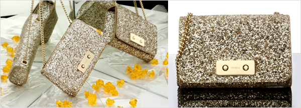 d1a954573a57 Shiny, bright and trendy, the Furla Maaya clutch is available in two  colours, Champagne and gold, and features a gold metal cross-body chain  that makes it a ...