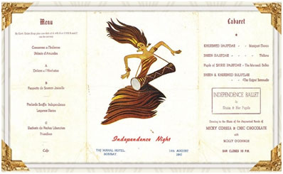 India – Taj Palace recreates historic Independence Day menu of 14th August, 1947