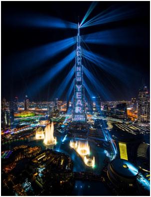 Dubai UAE– Emaar's 'Light Up 2018' New Year spectacle on Burj Khalifa sets Guinness World Record