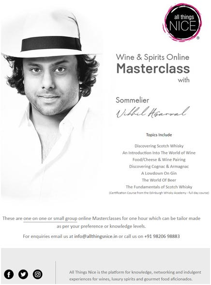 India – 'All Things Nice'organizes online Wine & Spirits Masterclass for enthusiasts