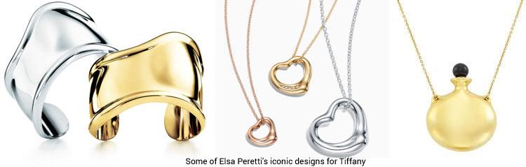 Some of Elsa Peretti's iconic designs for Tiffany
